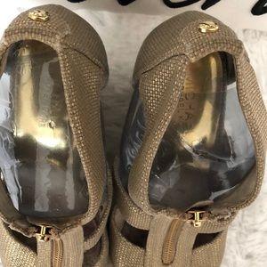 Michael Kors gold shimmer zip top wedges